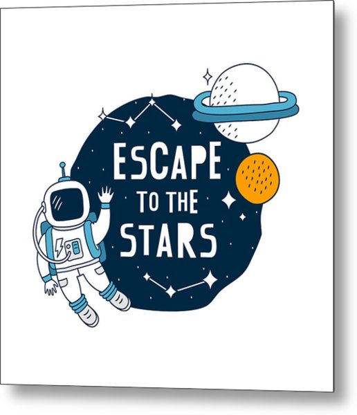 Escape To The Stars - Baby Room Nursery Art Poster Print Metal Print