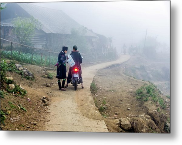 Ethnic Minority On The Road In Sapa, Vietnam Metal Print