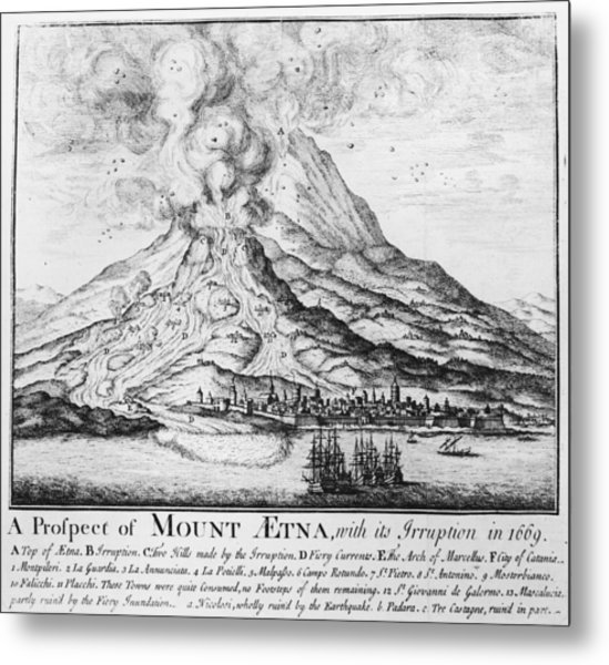 Etna Erupts Metal Print by Hulton Archive