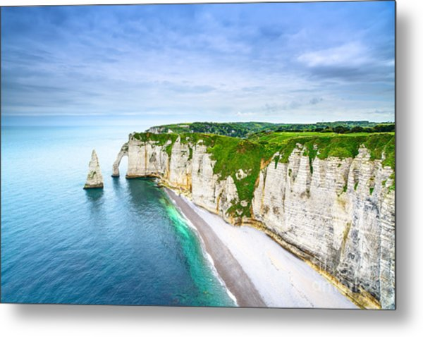 Etretat Aval Cliff, Rocks And Natural Metal Print