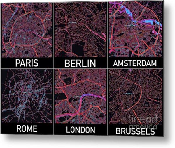 European Capital Cities Maps Metal Print