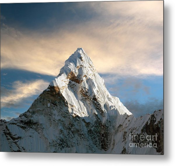 Evening View Of Ama Dablam With Metal Print