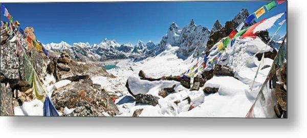 Everest Prayer Flags Mountain Pass Metal Print