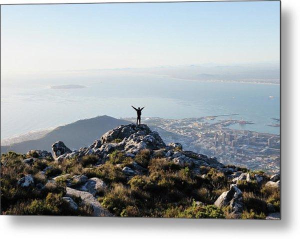 Exuberant Man On Top Of Table Mountain Metal Print by David Malan