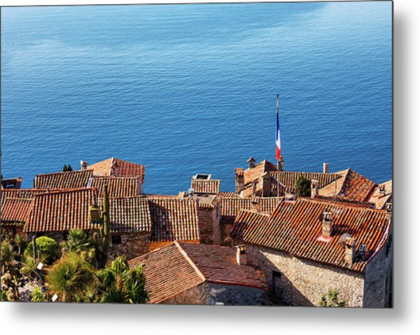 Eze Village Houses And The Sea In France Metal Print