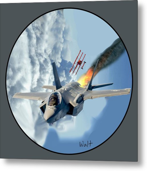 F-35 Vs The Red Baron Metal Print