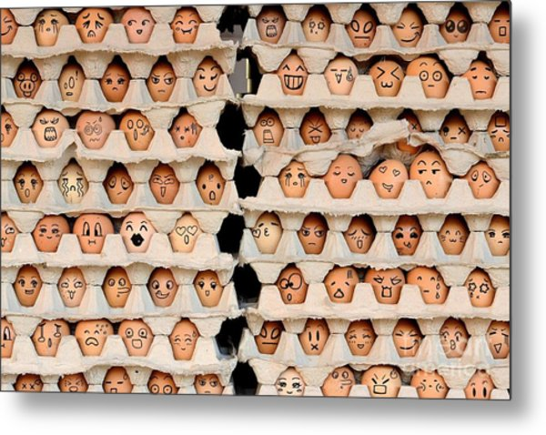 Faces On The Eggs. Differences Faces Metal Print