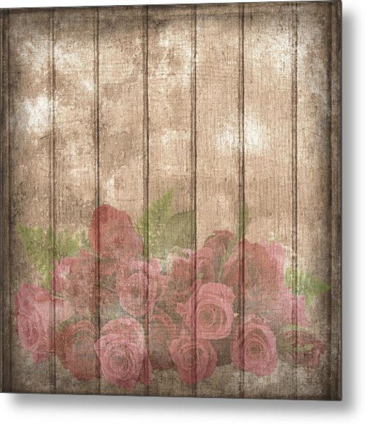 Faded Red Country Roses On Wood Metal Print