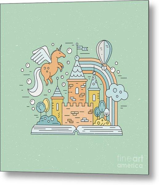 Fairytale Illustration With Open Book Metal Print by Olga Zakharova