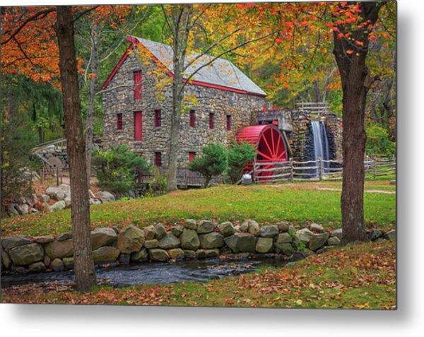 Fall Foliage At The Grist Mill Metal Print