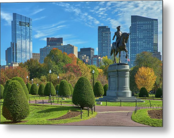 Metal Print featuring the photograph Fall Foliage Colors At The Boston Public Garden by Juergen Roth