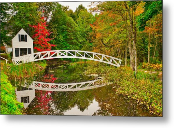 Fall Footbridge Reflection Metal Print