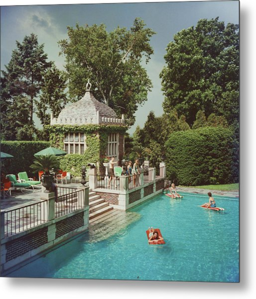 Family Pool Metal Print