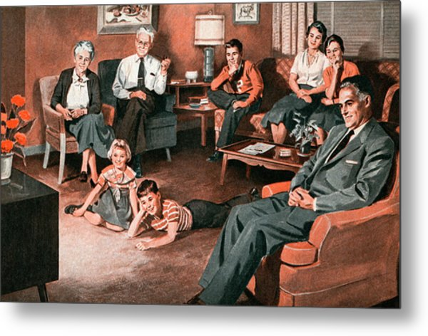 Family Watching Television Metal Print