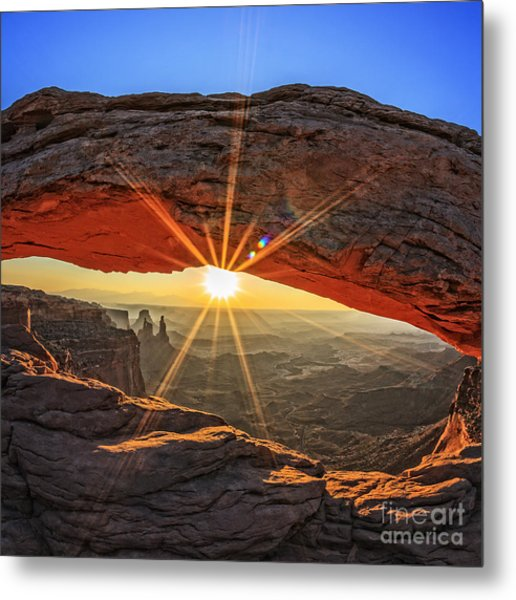 Famous Sunrise At Mesa Arch In Metal Print