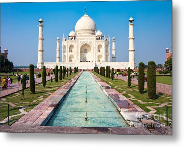 Famous Taj Mahal Mausoleum In In Bright Metal Print