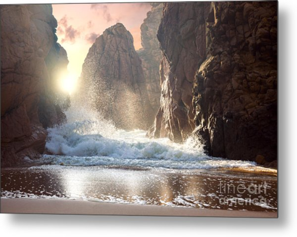 Fantastic Big Rocks And Ocean Waves At Metal Print