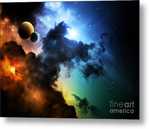 Fantasy Deep Space Nebula With Planet Metal Print