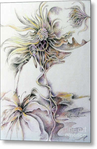 Metal Print featuring the drawing Fantasy by Rosanne Licciardi