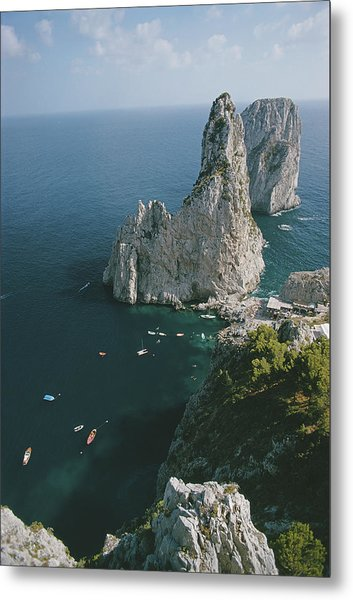 Faraglioni Rocks Metal Print by Slim Aarons