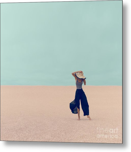 Fashion Model In The Desert On Vacation Metal Print