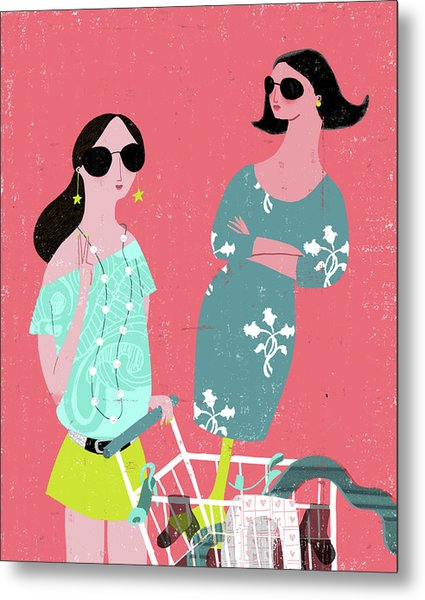 Fashion Woman Holding Trolley Metal Print by Luciano Lozano