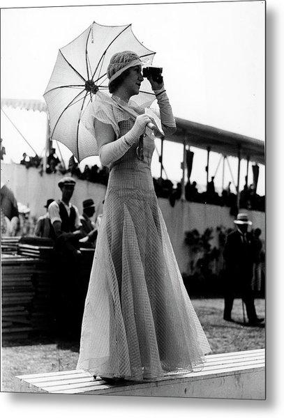 Fashionable Woman Wearing Long Organdy D Metal Print
