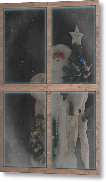 Father Christmas In Window Metal Print