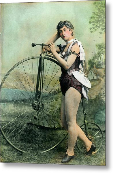 Female Circus Performer With Bicycle Metal Print by Bettmann