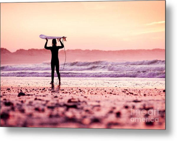 Female Surfer On The Beach At The Sunset Metal Print
