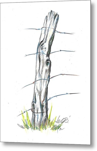 Fence Post Colored Pencil Sketch  Metal Print