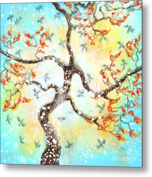 Feng Shui Your Life - 100 Birds Metal Print by Remy Francis