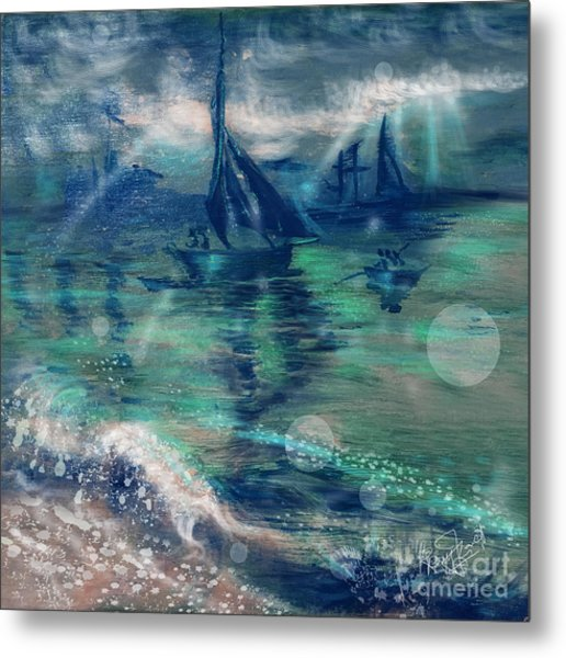 Feng Shui Your Life - Lucky Sailing Boat Metal Print by Remy Francis