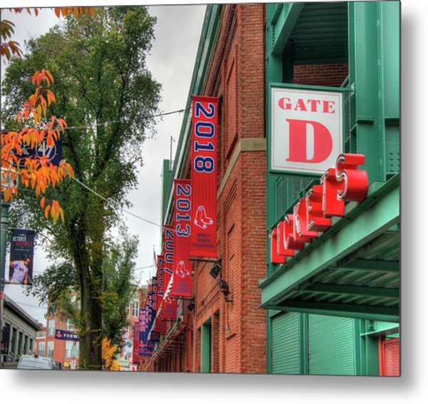 Metal Print featuring the photograph Fenway Park 2018 Championship Banner by Joann Vitali