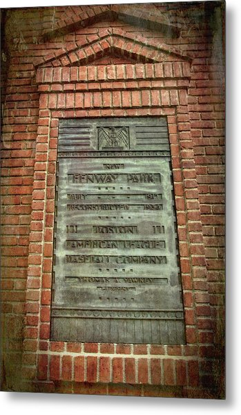 Metal Print featuring the photograph Fenway Park Bronze Plaque by Joann Vitali