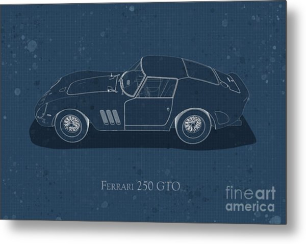 Ferrari 250 Gto - Side View - Stained Blueprint Metal Print