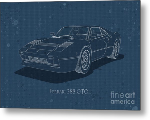 Ferrari 288 Gto - Front View - Stained Blueprint Metal Print