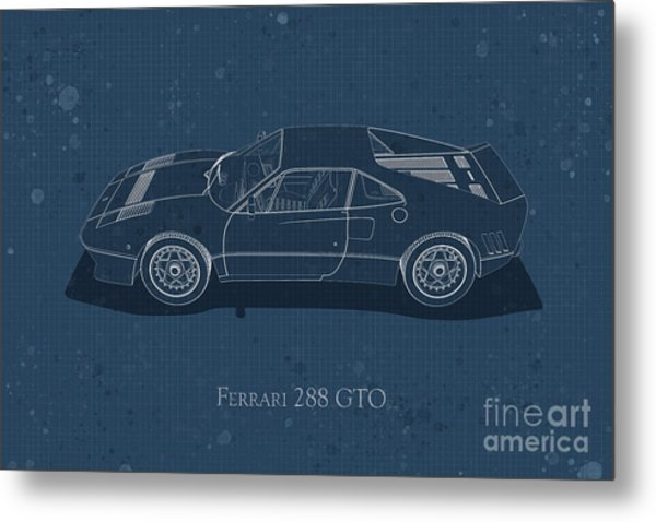 Ferrari 288 Gto - Side View - Stained Blueprint Metal Print