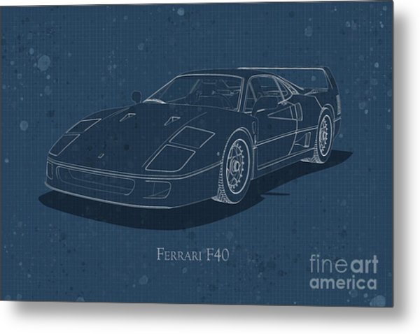 Ferrari F40 - Front View - Stained Blueprint Metal Print
