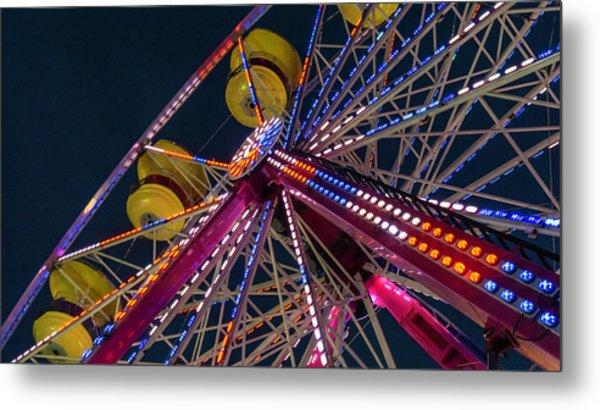 Ferris Wheel At Night Metal Print