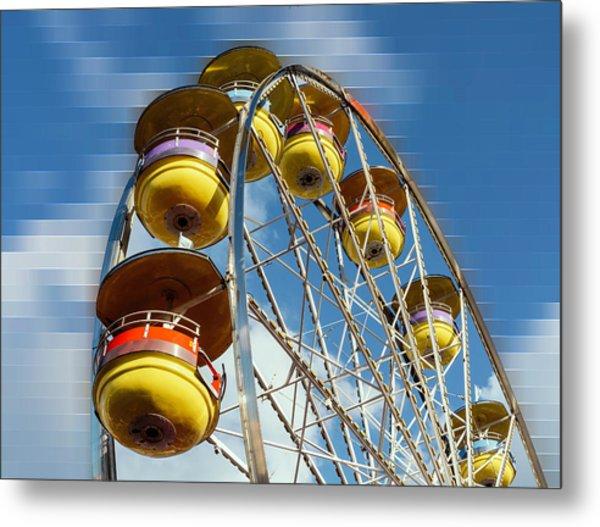 Ferris Wheel On Mosaic Blurred Background Metal Print