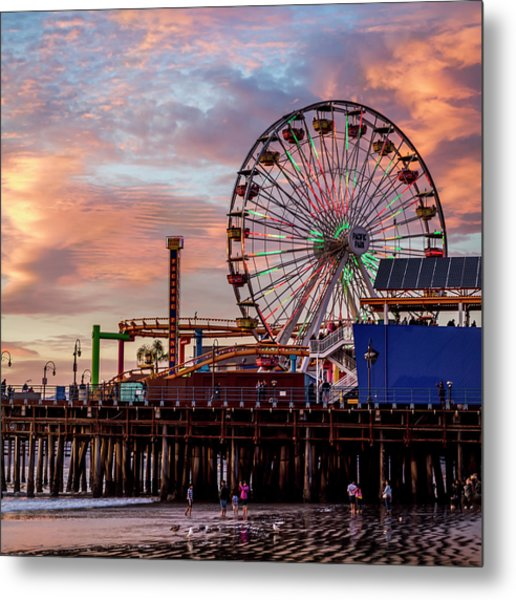 Ferris Wheel On The Pier - Square Metal Print