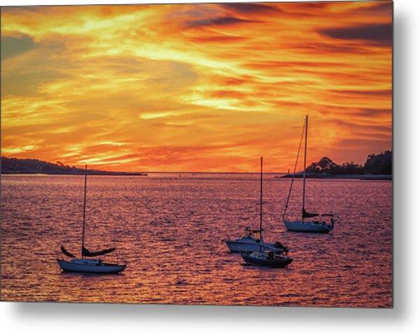 Fiery Sunrise Over Casco Bay Metal Print