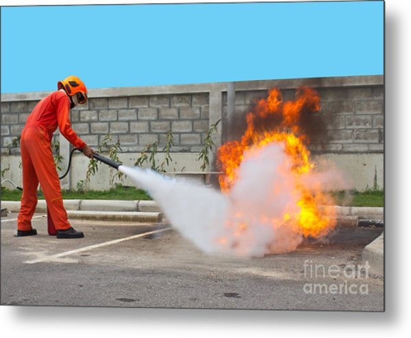 Fighting Fire During Training Metal Print by Yutthaphong