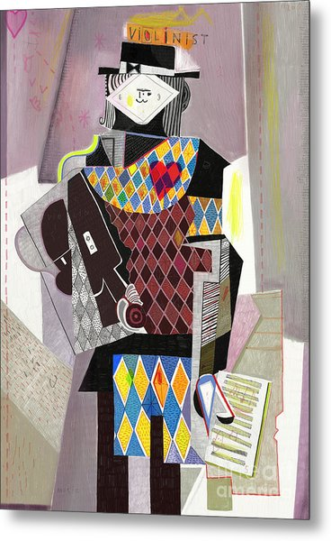 Figure Which Depicts A Violinist In The Metal Print
