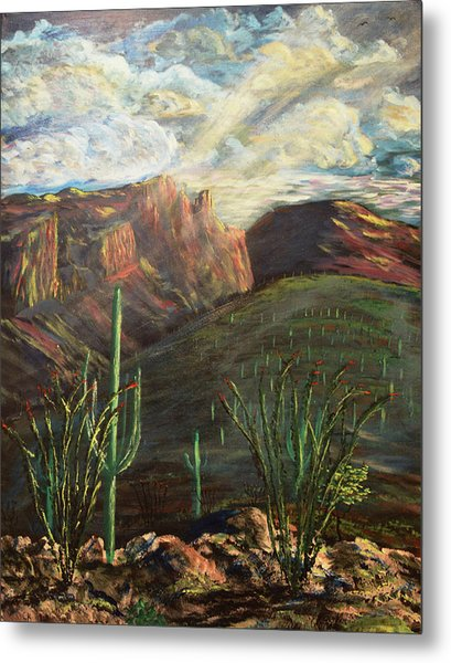 Metal Print featuring the painting Finger Rock Morning by Chance Kafka