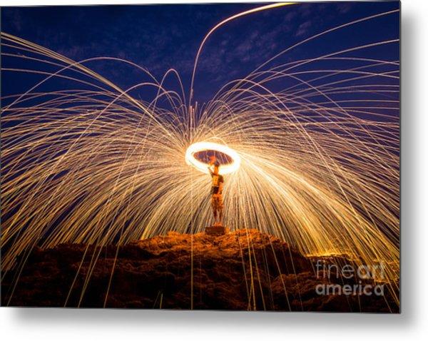 Fire Dancing On The Rocks Metal Print