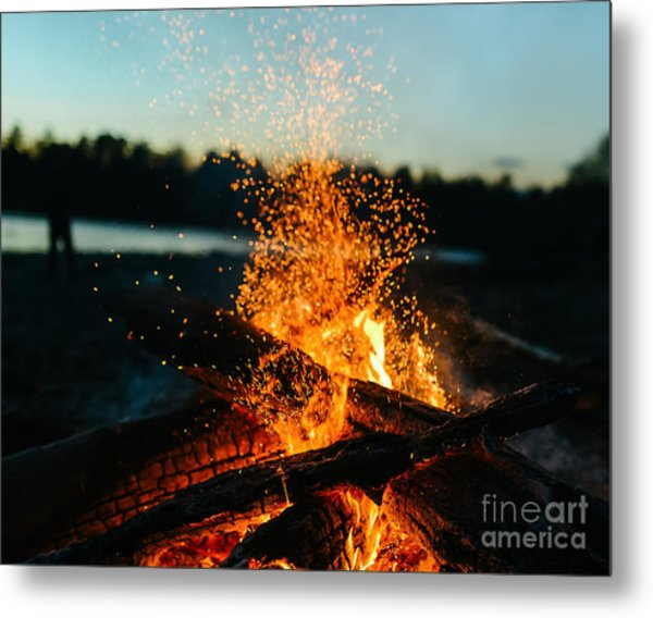 Fire In Nature . Bokeh From The Fire Metal Print