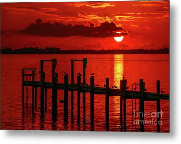 Metal Print featuring the photograph Fireball And Pier Sunrise by Tom Claud