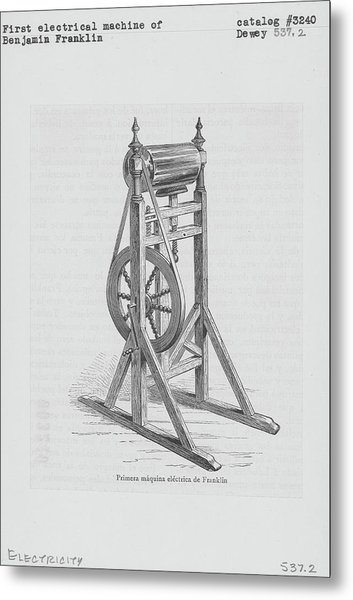 First Electrical Machine Of Benjamin Metal Print by Kean Collection